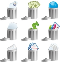 Trash bins with business signs vector