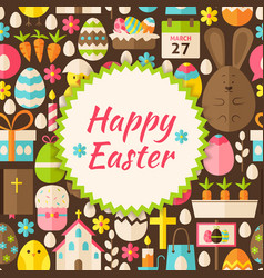 Flat Pattern Happy Easter Background vector image