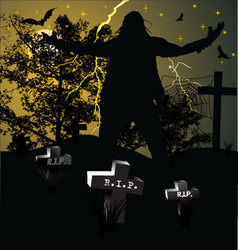 Spooky graveyard halloween background vector