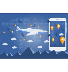 Flat web banner on the theme of travel by airplane vector