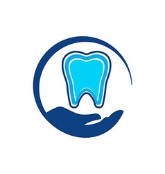 Logo dental circle hands healthy care tooth vector