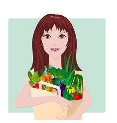 Girl vegetables vector