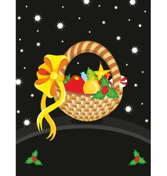 Basket christmas toy card vector