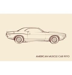 American muscle car silhouette 70s vector image vector image