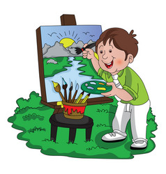 artist painting vector image