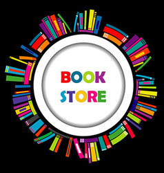 Bookstore round frame with colorful books vector