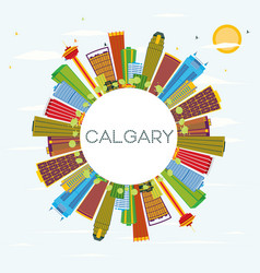 Calgary skyline with color buildings blue sky and vector