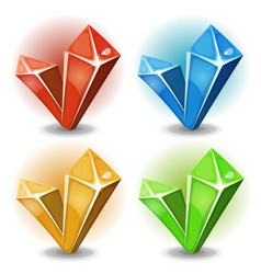 cartoon gems and diamonds icons vector image vector image