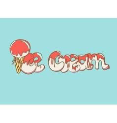 Cartoon ice cream text vector