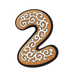 Christmas gingerbread cookie - two 2 number vector