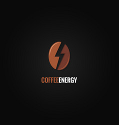 Coffee bean logo flash energy concept background vector