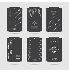 Collection of tribal vinatge hang tags vector