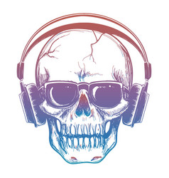 Colorful sketch of skull and headphones vector