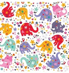 Cute elephants birds flowers pattern vector