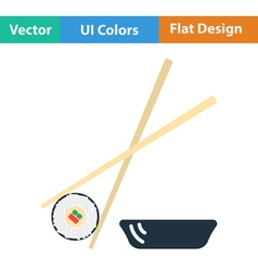 Flat design icon of sushi with sticks vector