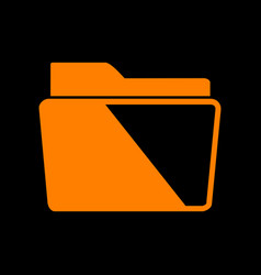 Folder sign orange icon on black vector