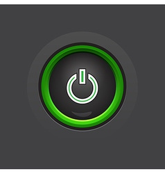 Glossy dark circle power button vector
