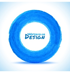 Hand drawn watercolor blue circle design element vector