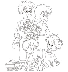 Happy family together vector