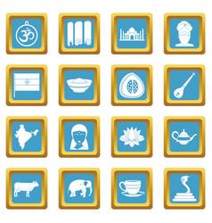 India travel icons azure vector