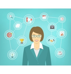 Modern Business Woman Conceptual Infographics vector image vector image