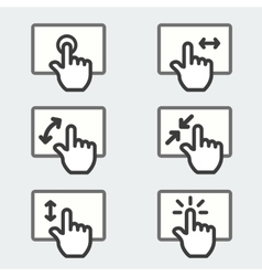 Multi touch pad phone gestures icon thin line web vector