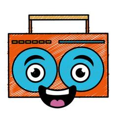 Music player kawaii character vector