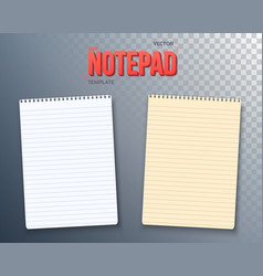 Notepad paper notebook template set vector