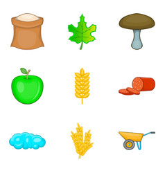 own food icons set cartoon style vector image