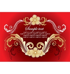 Red and gold floral frame vector