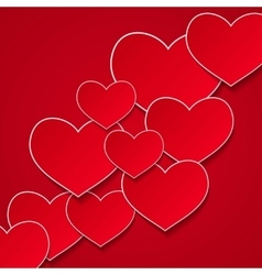 red hearts background vector image vector image