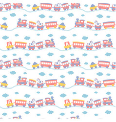 seamless pattern with cute toy trains vector image vector image
