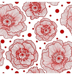 Seamless pattern with red lace poppies vector image vector image