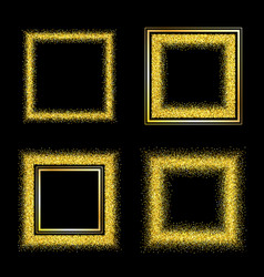 set of elegant luxury gold textured frames vector image
