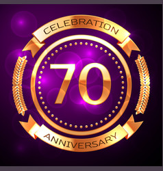 seventy years anniversary celebration with golden vector image