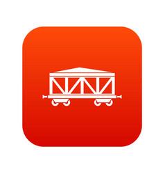 Train cargo wagon icon digital red vector