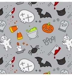 Halloween flat pattern skull color vector image