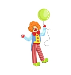 Colorful friendly clown with balloon in classic vector
