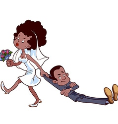Angry bride drags the groom to get married vector