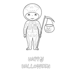 Halloween coloring page with cute skeleton vector image