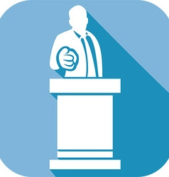 Male Giving a Speech at a Rostrum Icon vector image