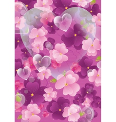 violet valentine background with flowers and vector image