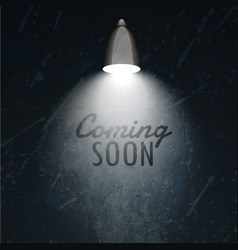 Dark wall with glowing lamo and coming soon text vector