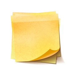 Different yellow sticky notes in pile on white vector