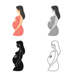 Pregnant icon in cartoon style isolated on white vector