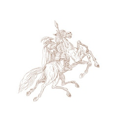 Norse god odin riding eight-legged horse vector
