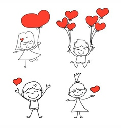 Cartoon hand-drawn set of happy kid and love vector