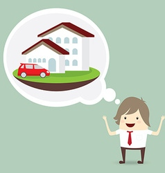Businessman is happy dream luxury house and car vector