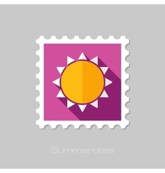 Sun flat stamp with long shadow vector
