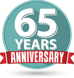 Flat design 65 years anniversary label with red vector
